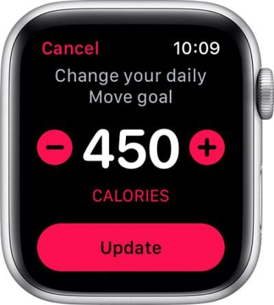 cambiar el objetivo de calorías al iPhone