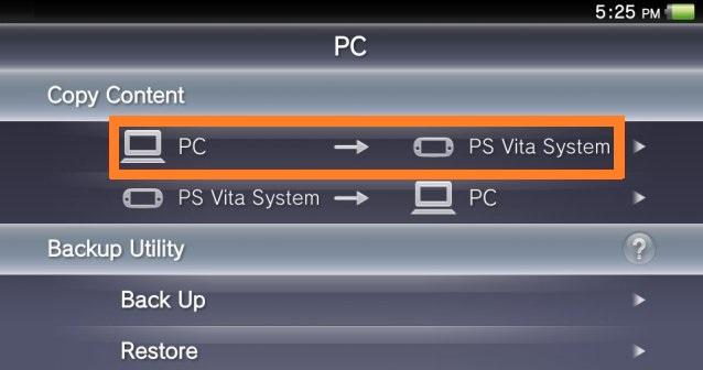 Sistema de PC a PSVita