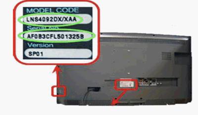 Número de modelo de televisor Samsung