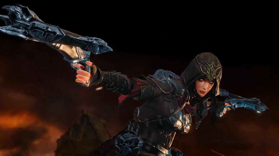 El cazador de demonios en Diablo Immortal dispara sus armas