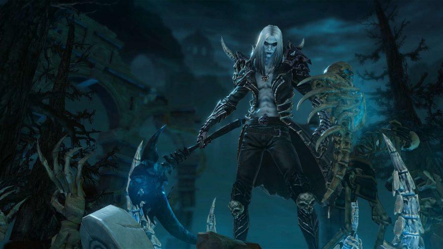 El Nigromante de Diablo Immortal posa en un cementerio empuñando una guadaña