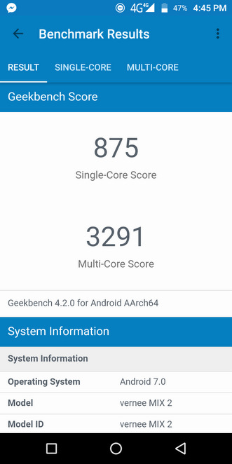 Vernee MIX 2 Review Geekbench Score