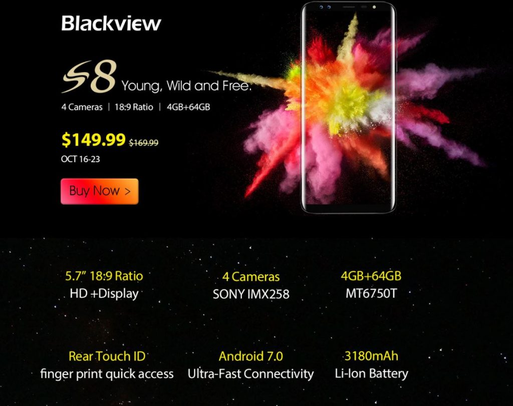 Especificaciones de Blackview S8 Infinity Display 64 GB Android 7 precio bajo
