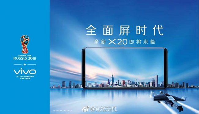 Teléfono inteligente Vivo X20 de pantalla completa