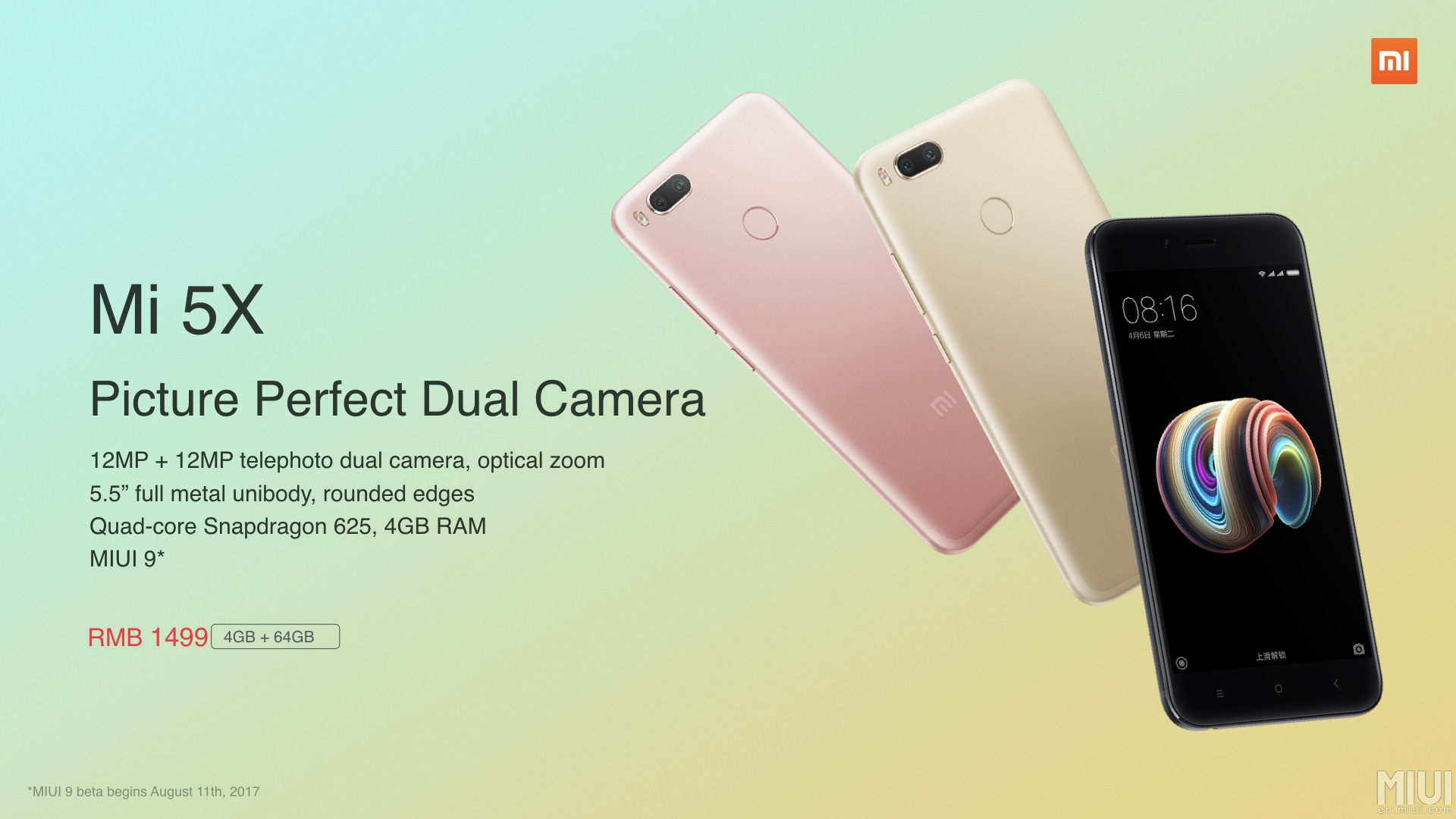 Lanzamiento de Xiaomi Mi 5X