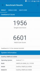 puntuación de OnePlus 5 geekbench