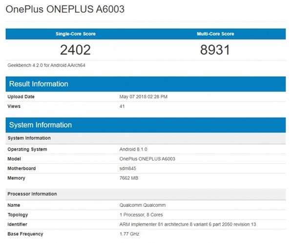 Especificaciones del teléfono inteligente OnePlus 6